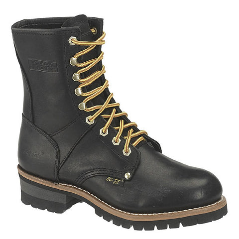 AdTec Mens Black 9in Logger Full Grain Oiled Leather