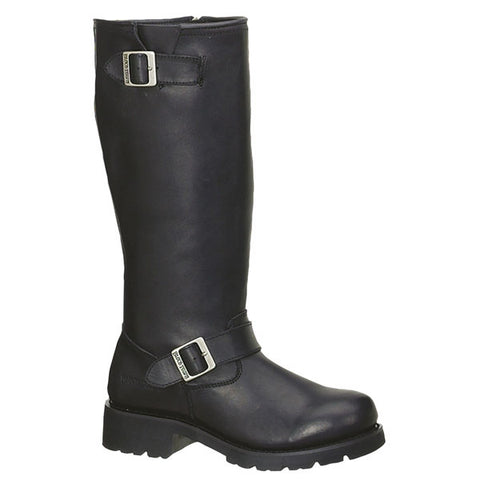 Ride Tecs Mens Black 16in Engineer Biker Boot Full Grain Leather