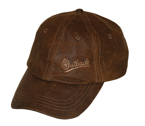 Outback Trading Co Leather Slugger Mens Baseball Cap Brown 6 Panel