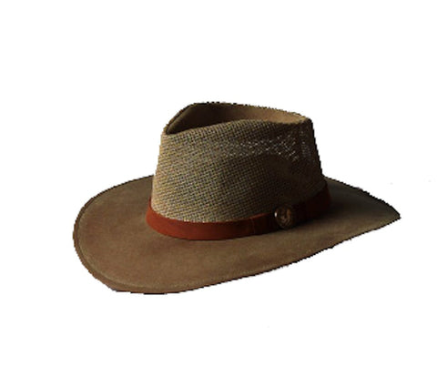 Outback Trading Co. Kodiak W/Mesh Mens Hat Sage Cotton Oilskin Waterproof
