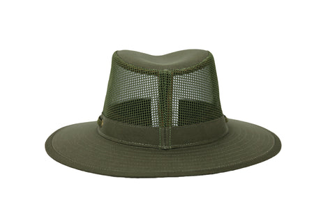 Outback Trading Co River Guide Mesh II Unisex Hat Olive Cotton Blend UPF 50