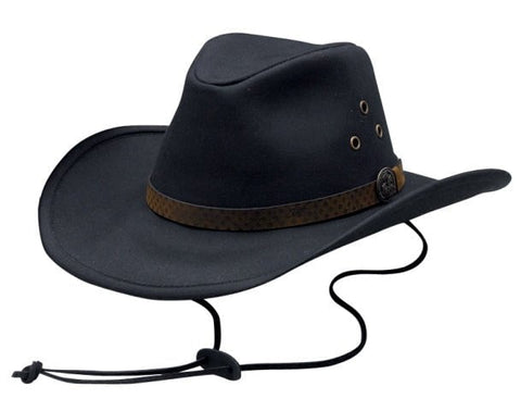 Outback Trading Co. Trapper Mens Hat Black 100% Cotton Oilskin Waterproof