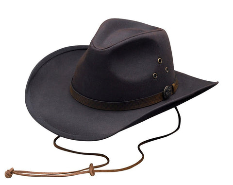 Outback Trading Co. Trapper Mens Hat Brown 100% Cotton Oilskin Waterproof