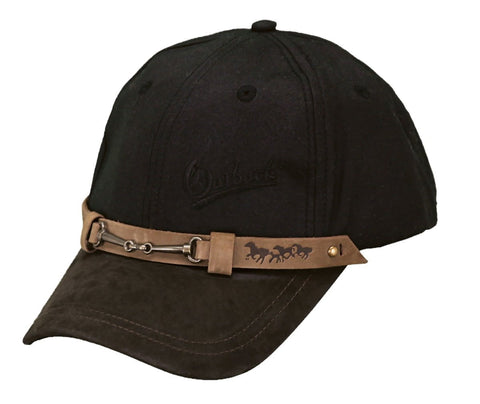 Outback Trading Co Equestrian Cap Mens Hat Black Cotton Oilskin 6 Panel