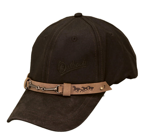 Outback Trading Co Equestrian Cap Mens Hat Brown Cotton Oilskin 6 Panel