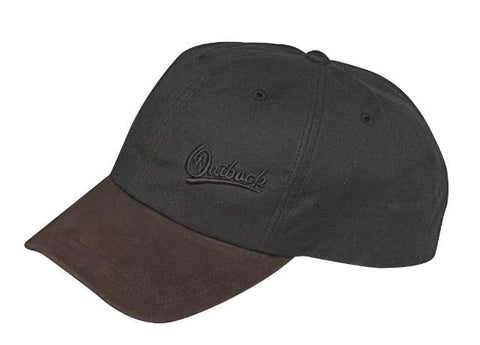 Outback Trading Co. Aussie Slugger Cap Mens Hat Black Cotton Oilskin 6 Panel