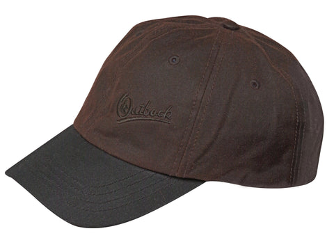 Outback Trading Co. Aussie Slugger Cap Mens Hat Brown Cotton Oilskin 6 Panel