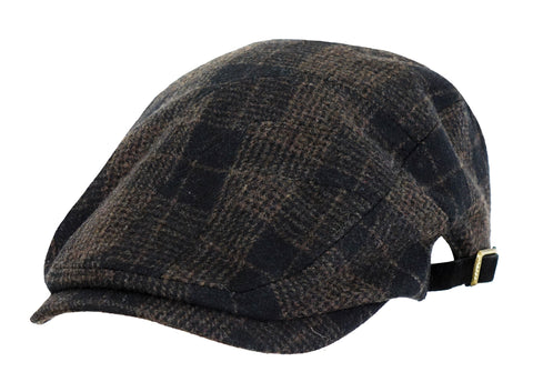 Outback Trading Co Bushwick Cap Mens Hat Brown Wool Blend Plaid