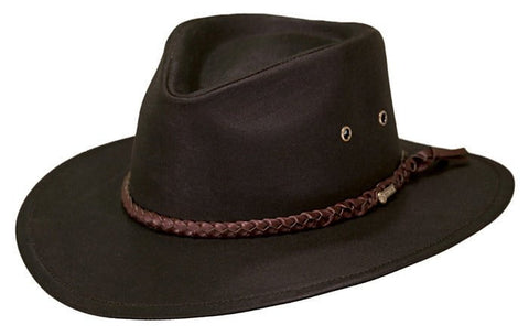Outback Trading Co. Grizzly Mens Hat Brown 100% Cotton Oilskin Waterproof