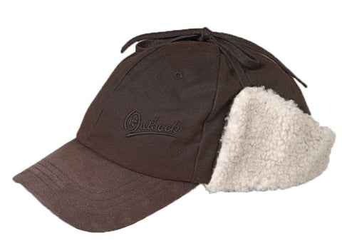 Outback Trading Co. Mckinley Cap Mens Trapper Hat Brown Cotton Oilskin Fleece