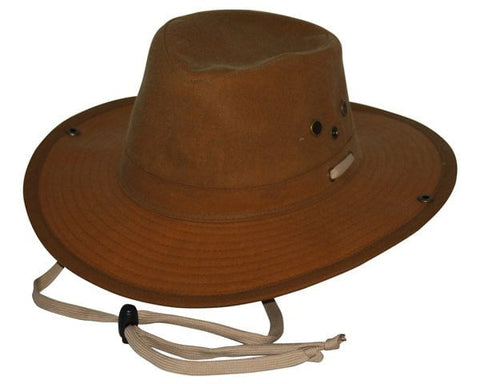 Outback Trading Co. Oilskin River Guide Mens Hat Field Tan 100% Cotton Oilskin