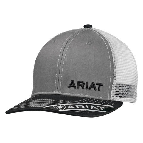 Ariat Grey Cotton Twill Mens Text Logo Baseball Cap