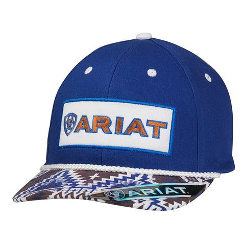 Ariat Blue Cotton Mens Aztec Print Baseball Cap