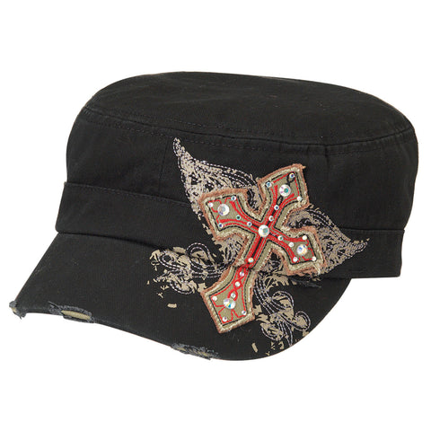 Blazin Roxx Black Womens Rhinestone Military Cross Cap