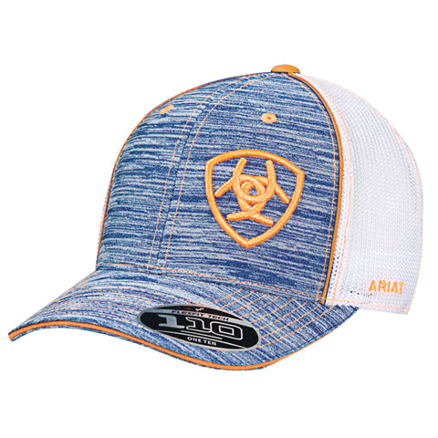 Ariat Blue Heather Mens FlexFit Orange Baseball Cap