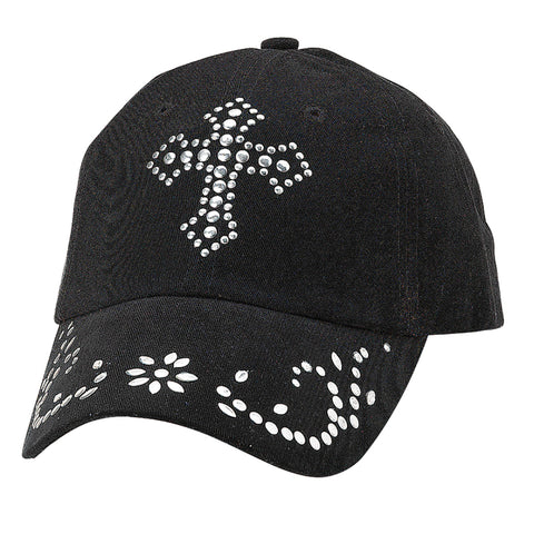 Blazin Roxx Black Womens Nailhead Cross Baseball Cap