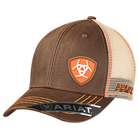 Ariat Brown Oilskin Mens Orange Accent Baseball Cap