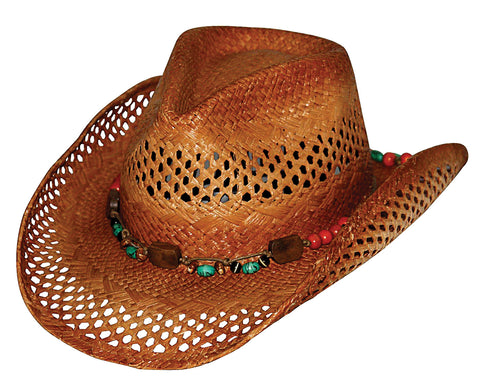 Outback Trading Co Mesquite Mens Hat Tea Raffia Straw UPF