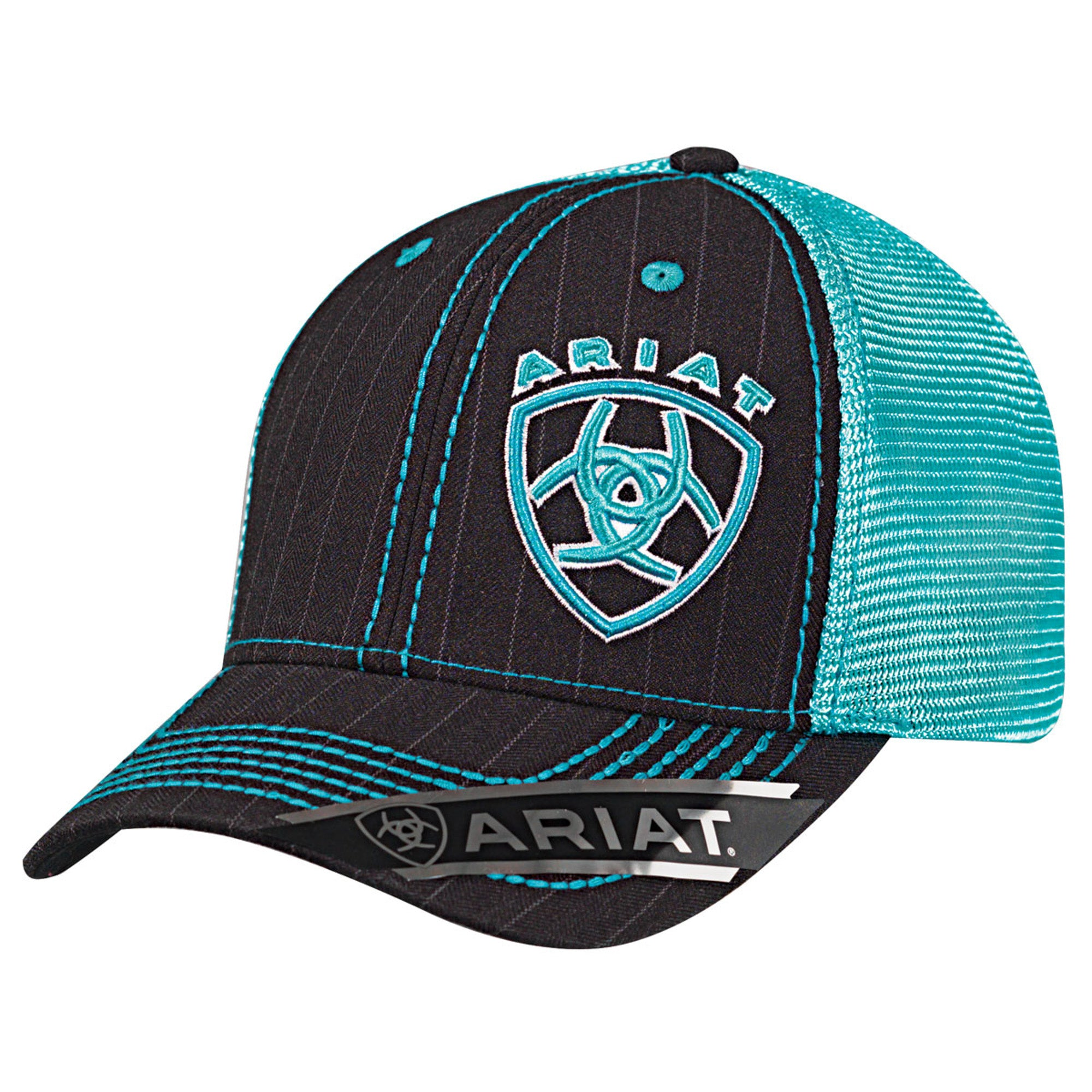 0344ce12d5a81 Ariat Black Turquoise Mens Mesh Snap Pinstripe Baseball Cap – The ...