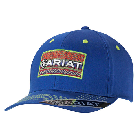 Ariat Blue/Lime Green Mens Mesh Patch Baseball Cap