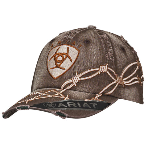 Ariat Distressed Brown Mens Barbwire Logo Baseball Cap