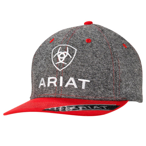 Ariat Grey/Red Mens Shield Logo Baseball Cap