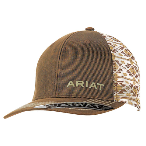 Ariat Brown Oilskin Mens Aztec Design Baseball Cap