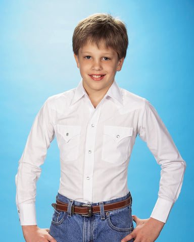 Ely & Walker Kids Boys Solid White Western Shirt L/S Cotton/Poly