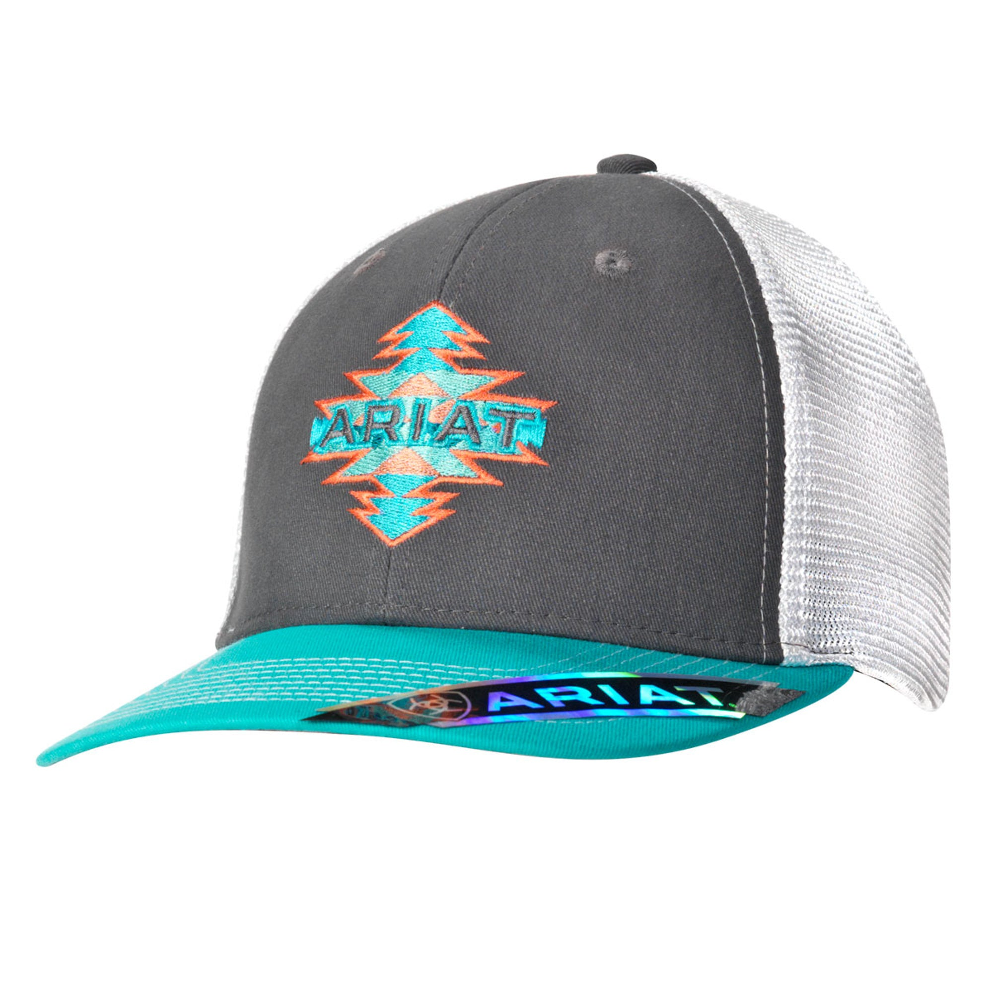 d40981e5b96 ... shopping ariat grey turquoise womens aztec logo baseball cap 98ab6 2e3d7