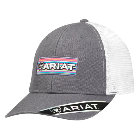Ariat Grey/White Canvas Womens Washed 3D Logo Baseball Cap