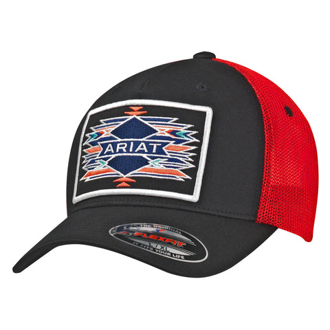 Ariat Black/Red Mens Aztec Patch Baseball Cap