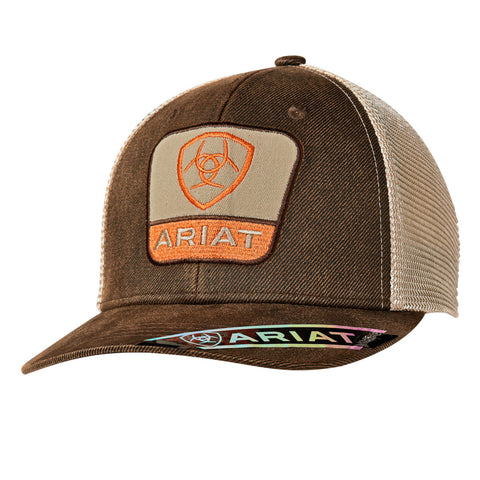 Ariat Brown Oilskin Mens Logo Patch Baseball Cap