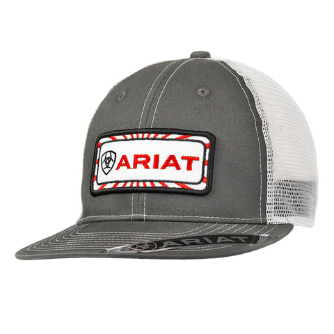 Ariat Grey Mens Red Logo Patch Baseball Cap