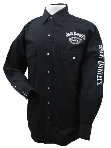 Jack Daniels Mens Solid Black Western Shirt L/S 100% Cotton