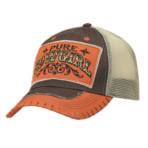 Blazin Roxx Orange/Brown Cotton Womens Pure Cowgirl Baseball Cap