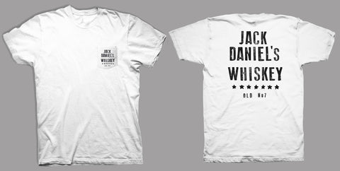 Jack Daniels Mens Black Tee T-Shirt S/S 100% Cotton Whiskey Stars