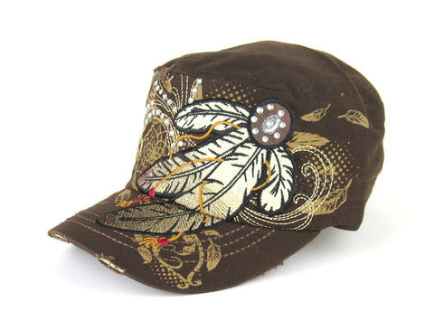 Savana Brown 100% Cotton Ladies Brown Hat Feathers Studded