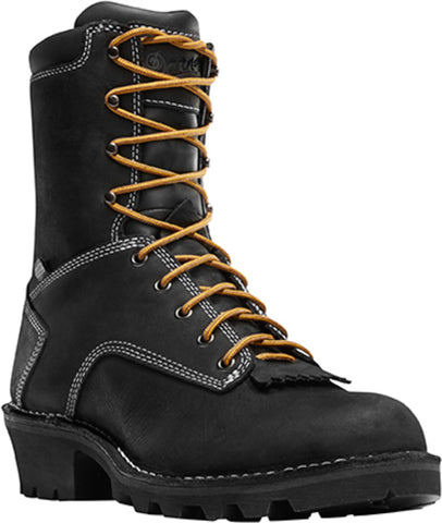 Danner Logger Mens Black Leather 8in EH Work Boots