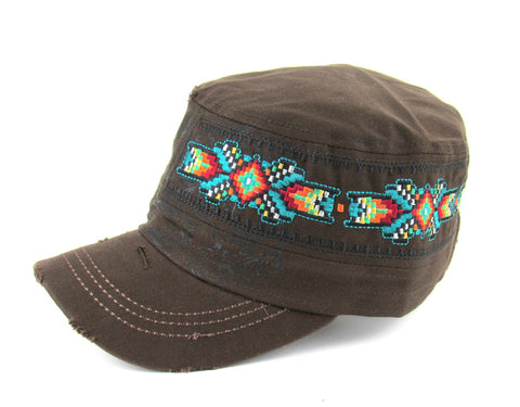 Savana Brown 100% Cotton Ladies Brown Hat Southwestern Distressed