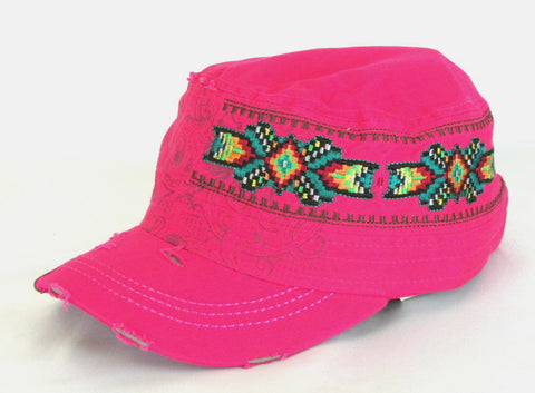 Savana Hot Pink 100% Cotton Ladies Hot Pink Hat Southwestern Distressed