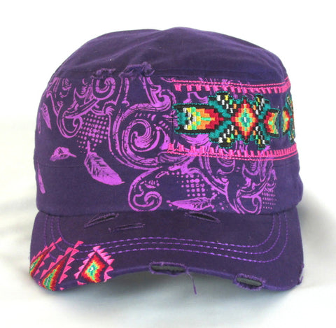 Savana Purple 100% Cotton Ladies Purple Hat Southwestern Distressed