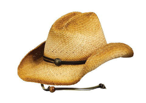 Outback Trading Co. Buckaroo Mens Hat Tea Raffia Straw Tea Stain Leather