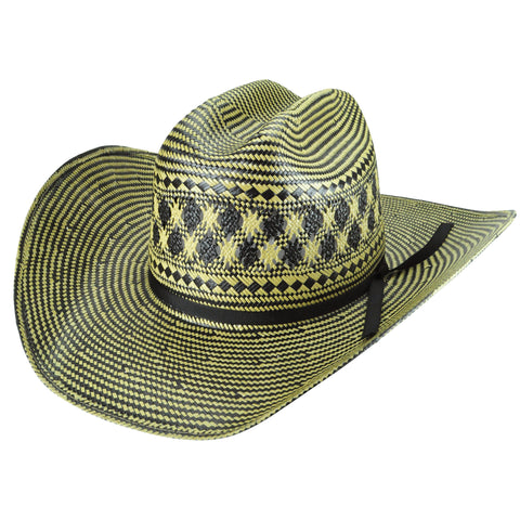 Bailey Double Tall Natural/Black Mens Straw Western Hat 10X Lazer