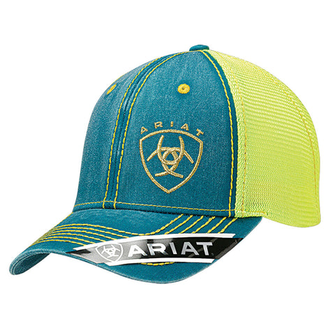 Ariat Turquoise/Yellow Womens Shield Logo Baseball Cap