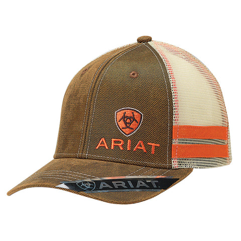 Ariat Brown/Orange Oilskin Mens Embroidered Logo Baseball Cap