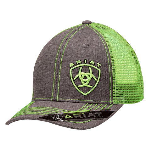 Ariat Grey/Lime Green Mens Mesh Snap Back Baseball Cap