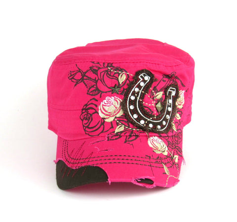 Savana Hot Pink 100% Cotton Ladies Hot Pink Hat Horseshoe Floral