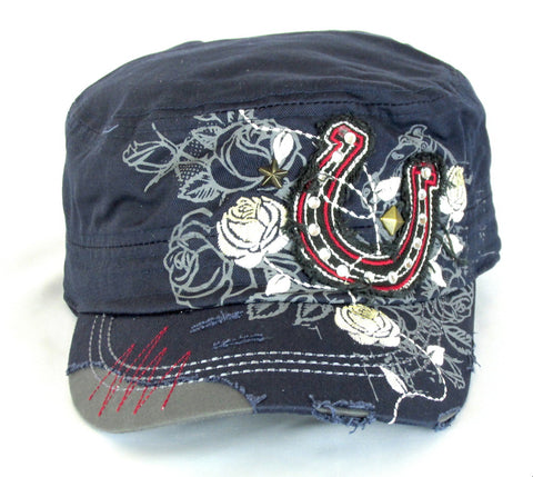 Savana Navy 100% Cotton Ladies Navy Hat Horseshoe Floral