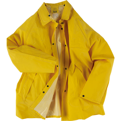 Neese Jacket with Attached Hood Yellow PVC On Poly Rain 1600 Series