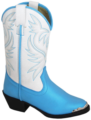 Smoky Mountain Boots Children Girls Lily White/Blue Faux Leather